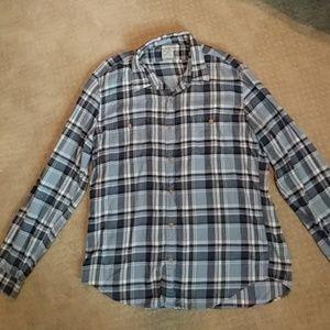 J. Crew mens blue flannel shirt XL